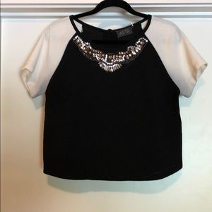 Black and White Dressy Crop Top